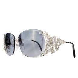 Vista frontale della stanghetta dell'occhiale in oro bianco e diamanti